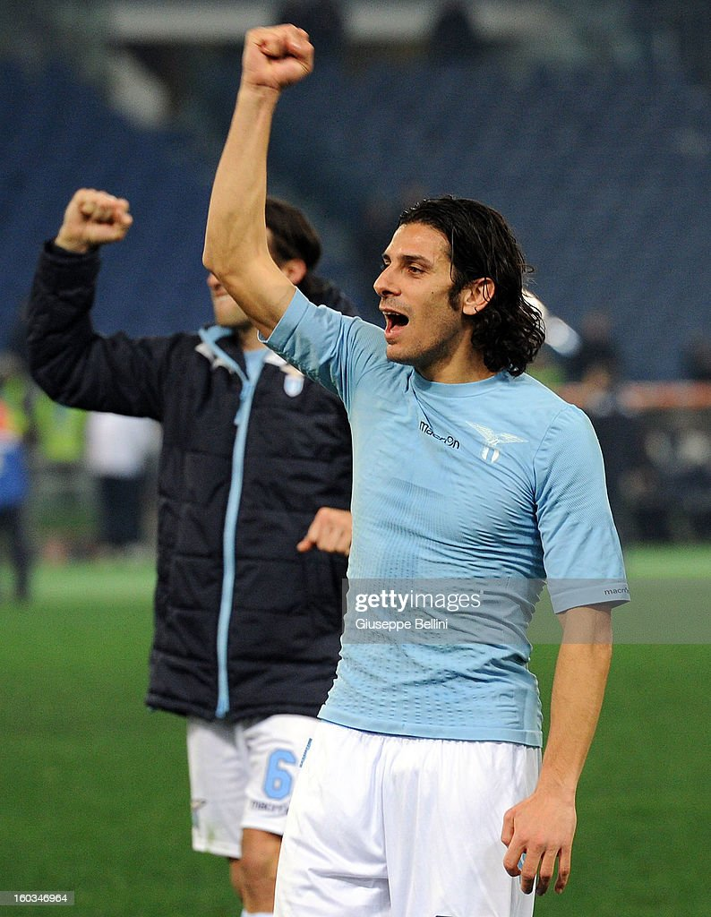 <a gi-track='captionPersonalityLinkClicked' href=/galleries/search?phrase=Sergio+Floccari&family=editorial&specificpeople=675401 ng-click='$event.stopPropagation()'>Sergio Floccari</a> of Lazio celebrates the victory after the TIM cup match between S.S. Lazio and Juventus FC at Stadio Olimpico on January 29, 2013 in Rome, Italy.