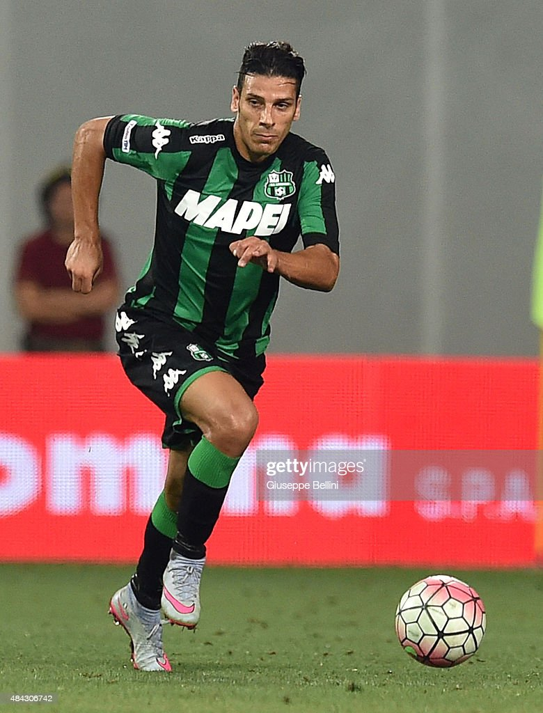<a gi-track='captionPersonalityLinkClicked' href=/galleries/search?phrase=Sergio+Floccari&family=editorial&specificpeople=675401 ng-click='$event.stopPropagation()'>Sergio Floccari</a> of Sassuolo in action during the TIM pre-season tournament match between FC Internazionale and US Sassuolo Calcio at Mapei Stadium - Città del Tricolore on August 12, 2015 in Reggio nell'Emilia, Italy.