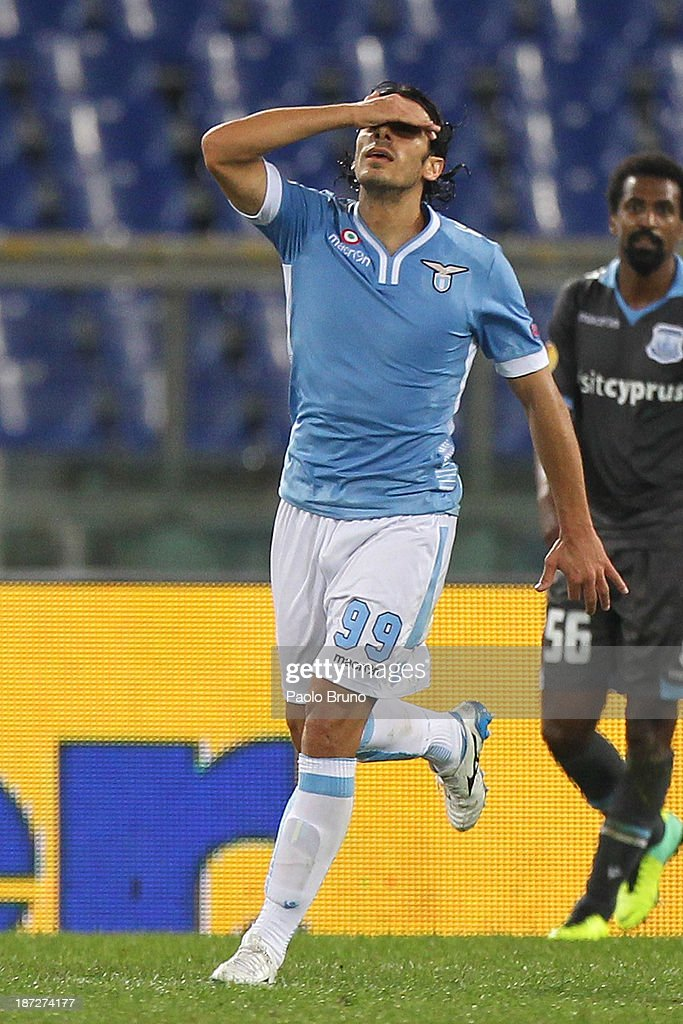 <a gi-track='captionPersonalityLinkClicked' href=/galleries/search?phrase=Sergio+Floccari&family=editorial&specificpeople=675401 ng-click='$event.stopPropagation()'>Sergio Floccari</a> of SS Lazio celebrates after scoring the their second goal during the UEFA Europa League Group J match between SS Lazio and Apollon Limassol FC at Stadio Olimpico on November 7, 2013 in Rome, Italy.