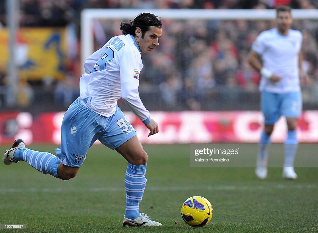 Sergio Floccari of S.S. Lazio in action during the Serie A match between Genoa CFC and SS Lazio at Stadio Luigi Ferraris on February 3, 2013 in Genoa, Italy.