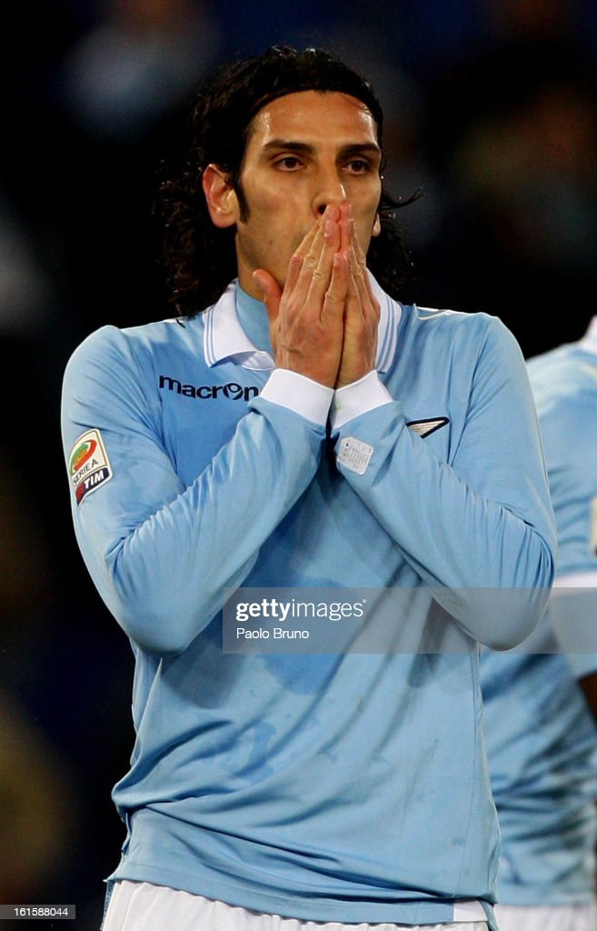 <a gi-track='captionPersonalityLinkClicked' href=/galleries/search?phrase=Sergio+Floccari&family=editorial&specificpeople=675401 ng-click='$event.stopPropagation()'>Sergio Floccari</a> of S.S. Lazio reacts during the Serie A match between S.S. Lazio and SSC Napoli at Stadio Olimpico on February 9, 2013 in Rome, Italy.