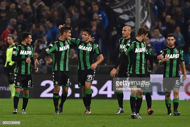 Sergio Floccari of US Sassuolo Calcio celebrates their second goal with his team mate Lorenzo Pellegrini during the Serie A match between UC...