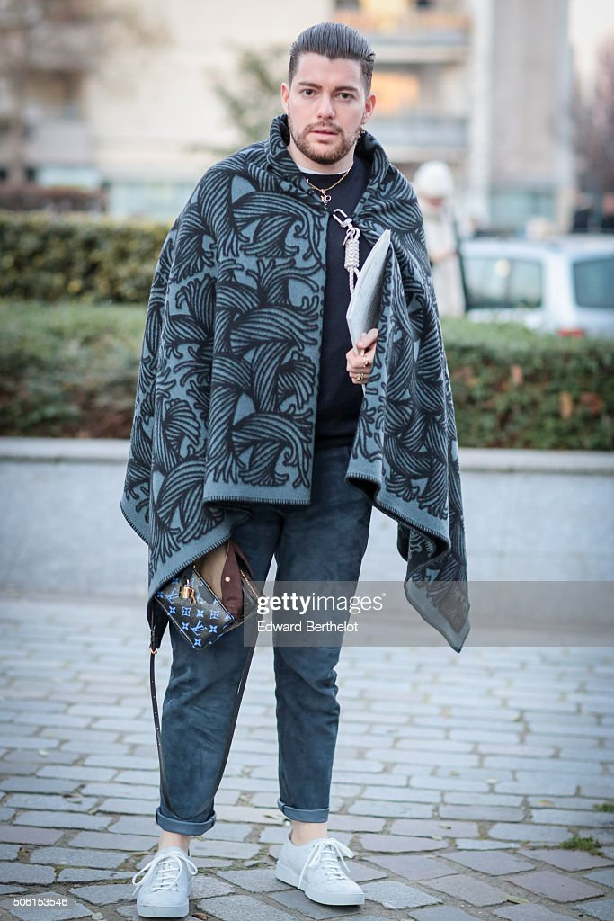 Sergio Gambato wearing a Louis Vuitton cape and a Prada pull after the Louis Vuitton show during Paris Fashion Week Menswear Fall Winter 2016/2017 on January 21, 2016 in Paris, France.