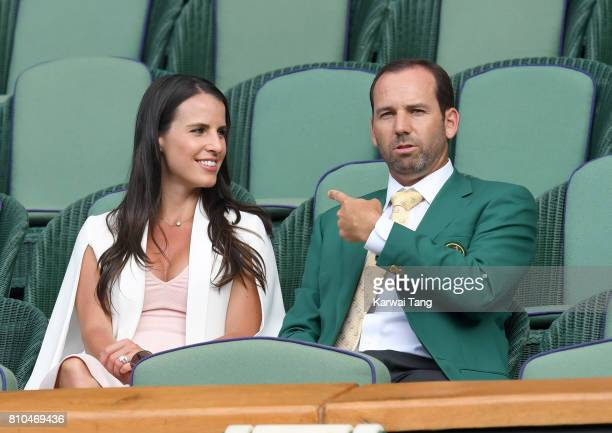 Sergio Garcia and Angela Akins attend day five of the Wimbledon Tennis Championships at the All England Lawn Tennis and Croquet Club on July 7 2017...
