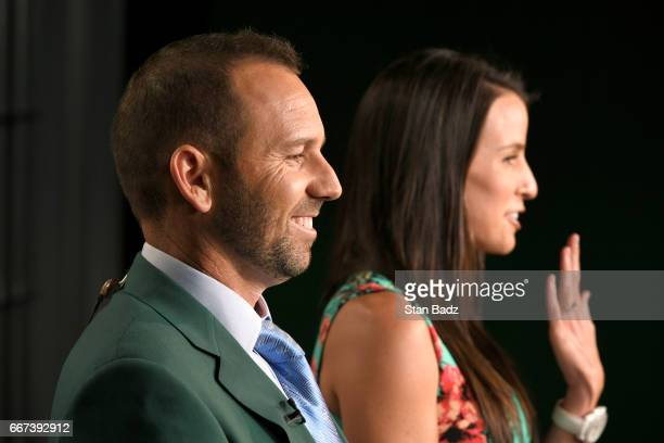 Sergio Garcia and his fiancee Angela Akins visit the TV broadcast set at Access Hollywood during the Master's winner media tour throughout New York...