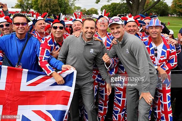 Sergio Garcia and Justin Rose of Europe pose with fans during practice prior to the 2016 Ryder Cup at Hazeltine National Golf Club on September 28...