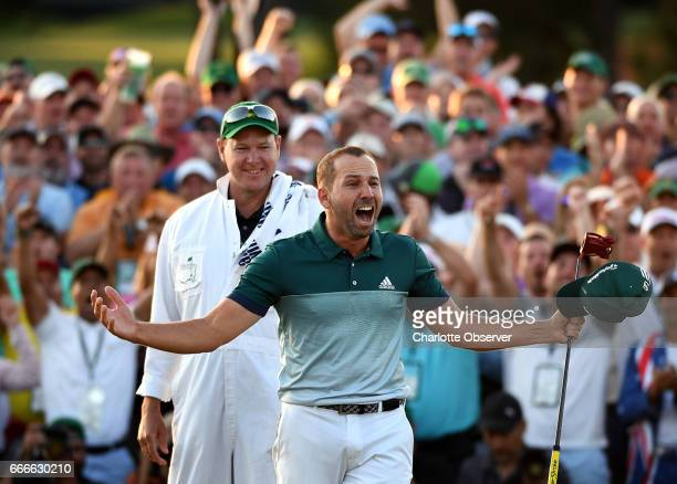 Sergio Garcia celebrates winning the Masters Tournament on Sunday April 9 2017 at Augusta National Golf Club in Augusta Ga Garcia defeated Justin...