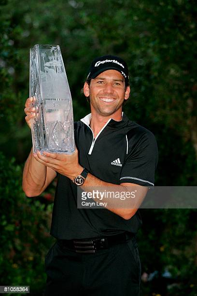 Sergio Garcia holds the winner's trophy after the final round of THE PLAYERS Championship on THE PLAYERS Stadium Course at TPC Sawgrass held on May...