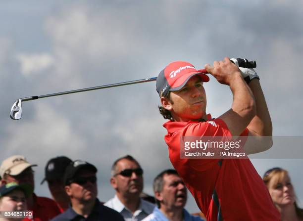 Sergio Garcia in action on the 17th tee during the second round of the European Open at The London Golf Club Ash Kent
