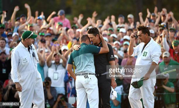 Sergio Garcia left and Justin Rose right embrace after Garcia defeated Rose in a onehole playoff on the 18th green on Sunday April 9 2017 at Augusta...