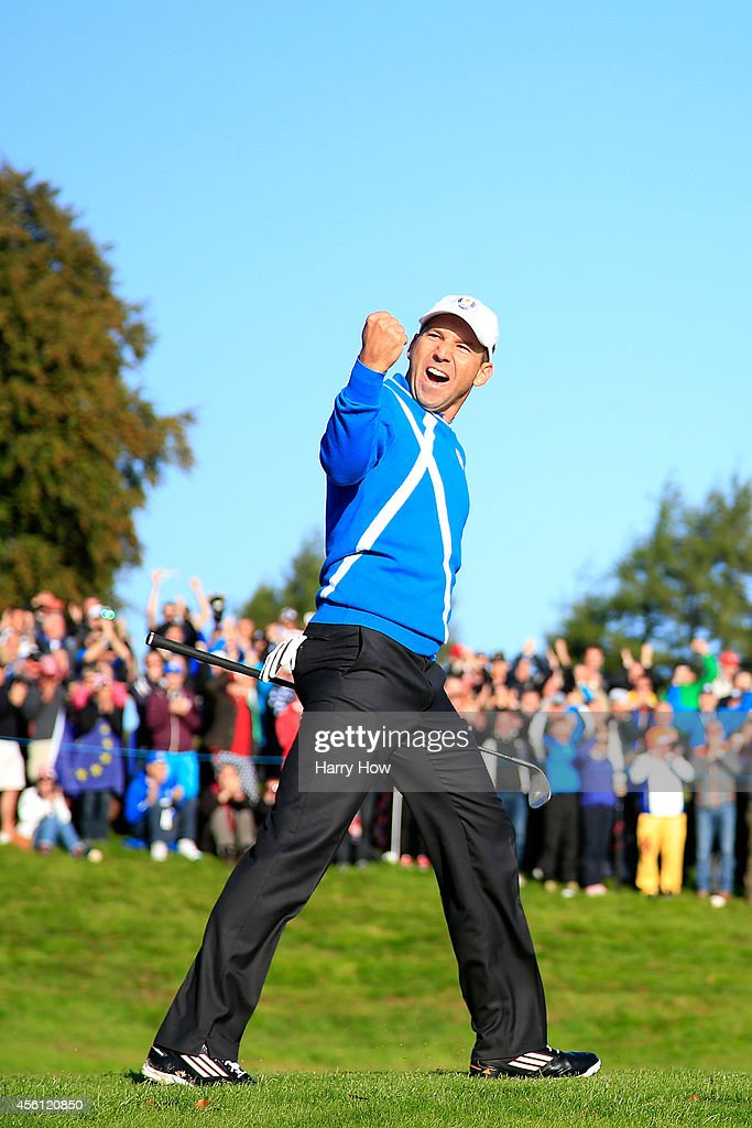 <a gi-track='captionPersonalityLinkClicked' href=/galleries/search?phrase=Sergio+Garcia+-+Golfer&family=editorial&specificpeople=167240 ng-click='$event.stopPropagation()'>Sergio Garcia</a> of Europe celebrates after he chipped in from a bunker on the 4th hole during the Morning Fourballs of the 2014 Ryder Cup on the PGA Centenary course at the Gleneagles Hotel on September 26, 2014 in Auchterarder, Scotland.