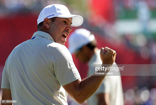 Sergio Garcia of Europe reacts on the 17th green during morning foursome matches of the 2016 Ryder Cup at Hazeltine National Golf Club on October 1...
