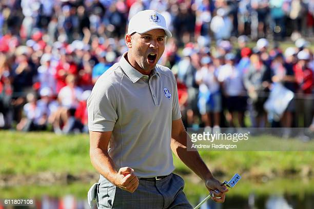 Sergio Garcia of Europe reacts to a putt on the 16th green during morning foursome matches of the 2016 Ryder Cup at Hazeltine National Golf Club on...