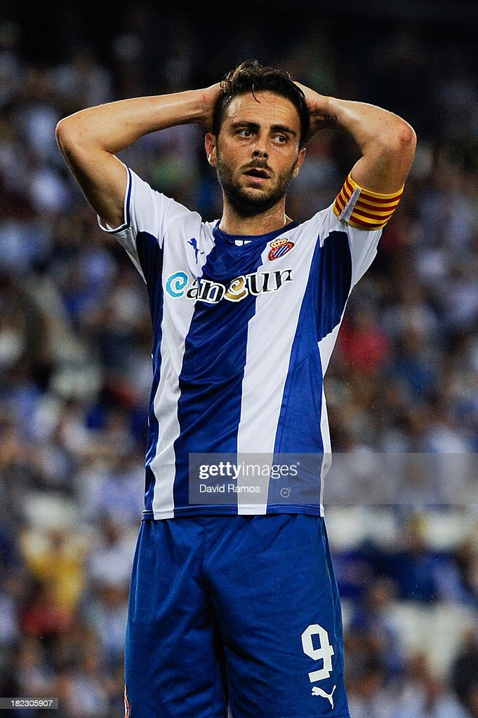 Sergio Garcia of RCD Espanyol reacts after missing a chance to score during the La Liga match between RCD Espanyol and Getafe CF at Cornella-El Prat Stadium on September 29, 2013 in Barcelona, Spain.