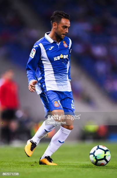Sergio Garcia of RCD Espanyol runs with the ball during the La Liga match between Espanyol and Levante at CornellaEl Prat stadium on October 13 2017...