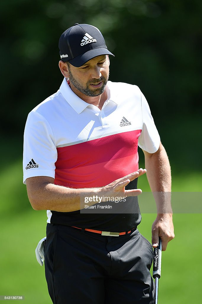 <a gi-track='captionPersonalityLinkClicked' href=/galleries/search?phrase=Sergio+Garcia+-+Golfer&family=editorial&specificpeople=167240 ng-click='$event.stopPropagation()'>Sergio Garcia</a> of Spain acknowledges the crowd during the final round of the BMW International Open at Gut Larchenhof on June 26, 2016 in Cologne, Germany.