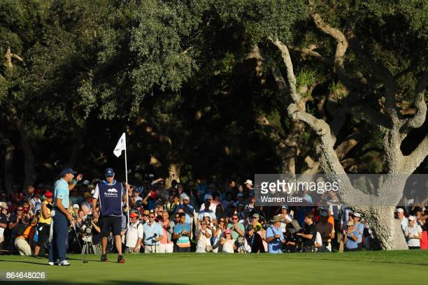 Sergio Garcia of Spain acknowledges the crowd on the 18th green during day three of the Andalucia Valderrama Masters at Real Club Valderrama on...