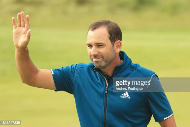 Sergio Garcia of Spain acknowledges the crowd on the 18th hole during the final round of the 146th Open Championship at Royal Birkdale on July 23...
