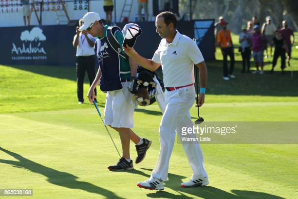 Sergio Garcia of Spain acknowledges the crowd on the 18th hole during the final round of of the Andalucia Valderrama Masters at Real Club Valderrama...