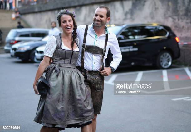 Sergio Garcia of Spain and Angela Akins attend the BMW International Open Players Night at P1 Club on June 23 2017 in Munich Germany