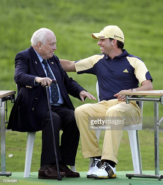 Sergio Garcia of Spain and Jaime Pation after the final round of the 2006 Volvo Masters at Valderrama Golf Club on October 29 2006 in Cadiz Spain