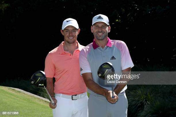 Sergio Garcia of Spain and Rory McIlroy of Northern Ireland pose with their Taylor Made drivers during practice for THE PLAYERS Championship on the...