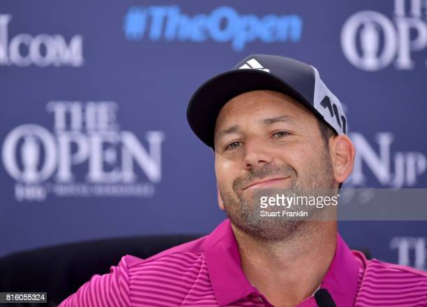 Sergio Garcia of Spain answers questions from the media at a press conference during a practice round prior to the 146th Open Championship at Royal...