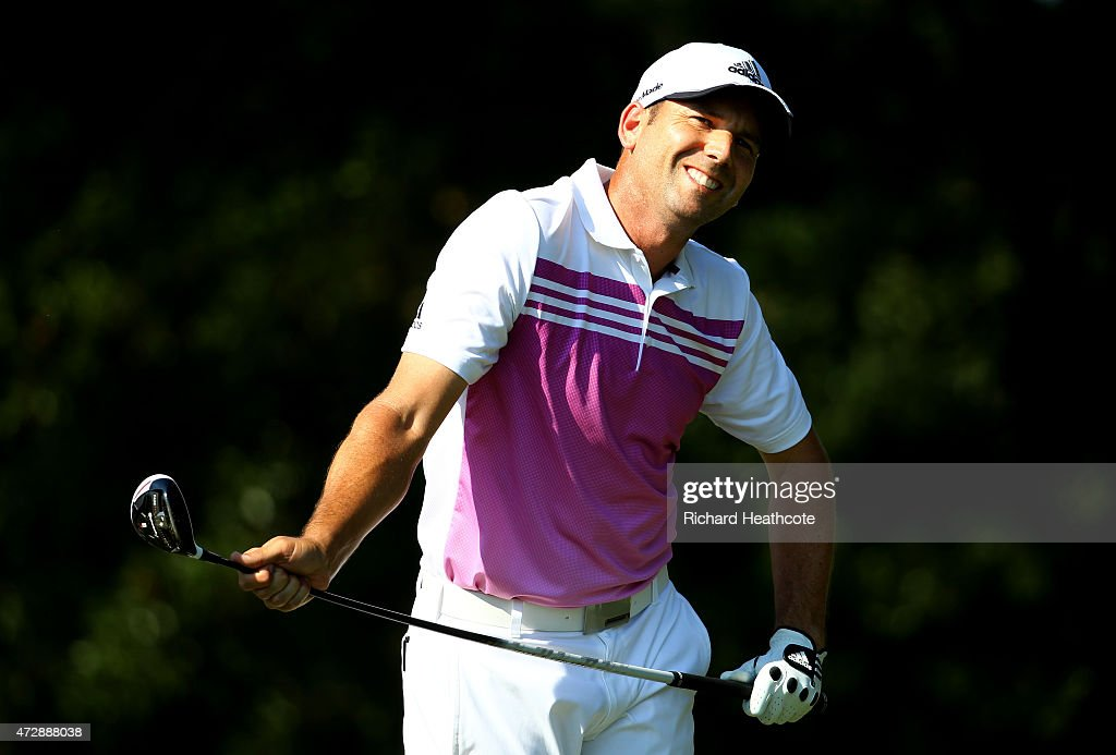 Sergio Garcia of Spain bends his driver as he reacts to his shot from the 14th tee during the final round of THE PLAYERS Championship at the TPC Sawgrass Stadium course on May 10, 2015 in Ponte Vedra Beach, Florida.