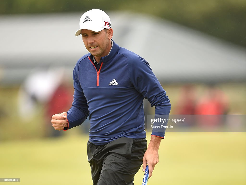 <a gi-track='captionPersonalityLinkClicked' href=/galleries/search?phrase=Sergio+Garcia+-+Golfer&family=editorial&specificpeople=167240 ng-click='$event.stopPropagation()'>Sergio Garcia</a> of Spain celebrates a birdie on the 3rd green during the final round of the 144th Open Championship at The Old Course on July 20, 2015 in St Andrews, Scotland.