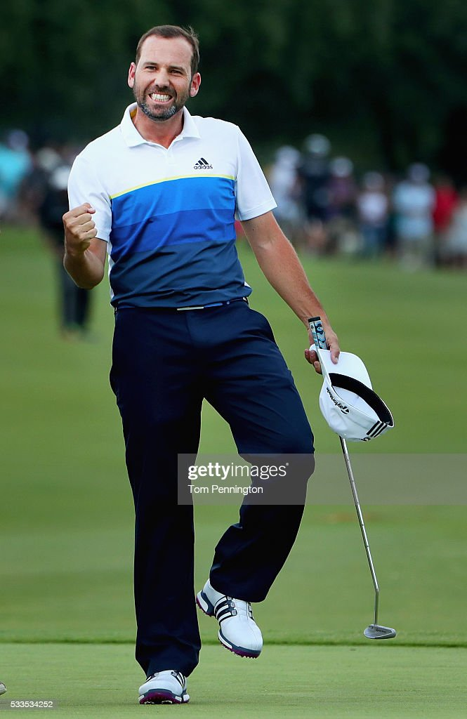 Sergio Garcia of Spain celebrates after defeating Brooks Koepka on the first playoff hole to win the AT&T Byron Nelson on May 22, 2016 in Irving, Texas.