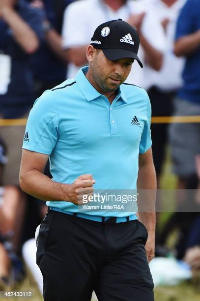 Sergio Garcia of Spain celebrates an eagle on the 10th hole during the final round of The 143rd Open Championship at Royal Liverpool on July 20 2014...