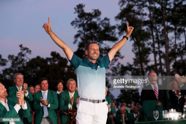 Sergio Garcia of Spain celebrates during the green jacket presentation after he won in a playoff during the final round of the 2017 Masters...