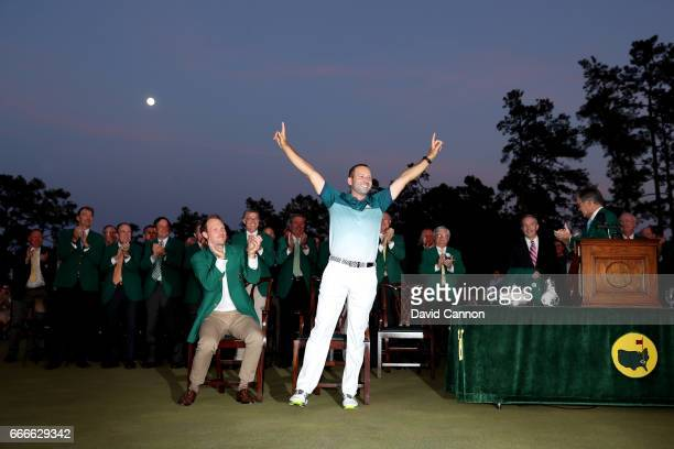 Sergio Garcia of Spain celebrates during the Green Jacket ceremony after he won in a playoff during the final round of the 2017 Masters Tournament at...