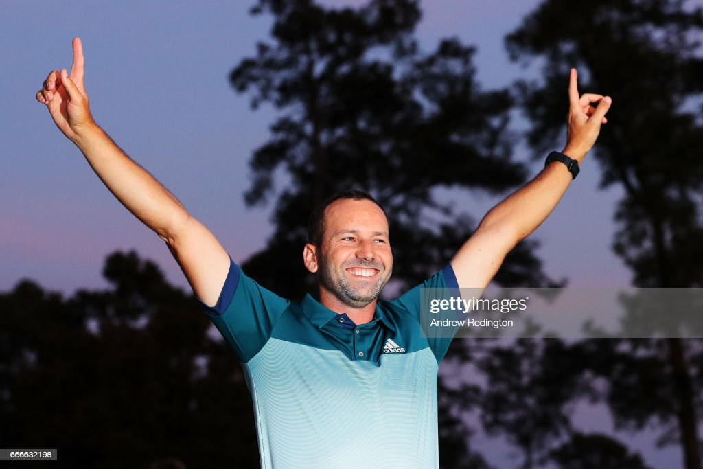 Sergio Garcia of Spain celebrates during the Green Jacket ceremony after he won in a playoff during the final round of the 2017 Masters Tournament at Augusta National Golf Club on April 9, 2017 in Augusta, Georgia.
