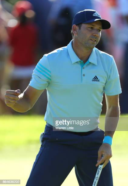 Sergio Garcia of Spain celebrates holing a putt on the 16th green during day three of the Andalucia Valderrama Masters at Real Club Valderrama on...
