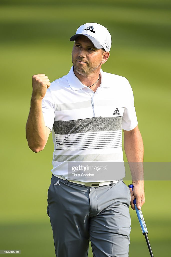 Sergio Garcia of Spain celebrates making a birdie putt on the 18th hole green, capping off a run of seven consecutive birdies, during the second round of the World Golf Championships-Bridgestone Invitational at Firestone Country Club on August 1, 2014 in Akron, Ohio.