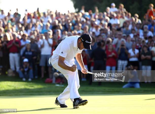 Sergio Garcia of Spain celebrates securing victory during the final round of the Andalucia Masters at Valderrama on October 30 2011 in Sotogrande...