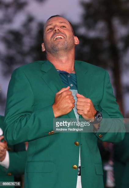 Sergio Garcia of Spain celebrates with the green jacket after he won in a playoff during the final round of the 2017 Masters Tournament at Augusta...