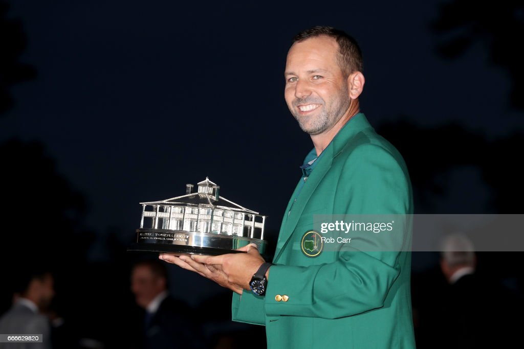 Sergio Garcia of Spain celebrates with the Masters Trophy during the Green Jacket ceremony after he won in a playoff during the final round of the 2017 Masters Tournament at Augusta National Golf Club on April 9, 2017 in Augusta, Georgia.