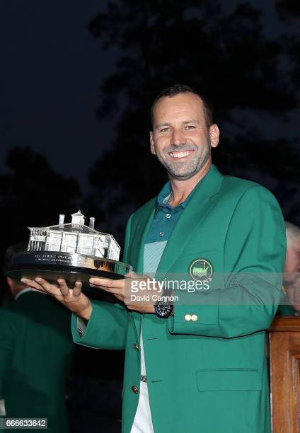 Sergio Garcia of Spain celebrates with the Masters Trophy during the Green Jacket ceremony after he won in a playoff during the final round of the...