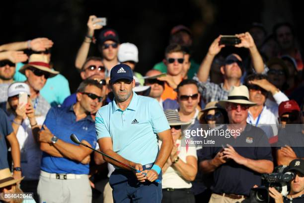 Sergio Garcia of Spain chips to the 18th green during day three of the Andalucia Valderrama Masters at Real Club Valderrama on October 21 2017 in...