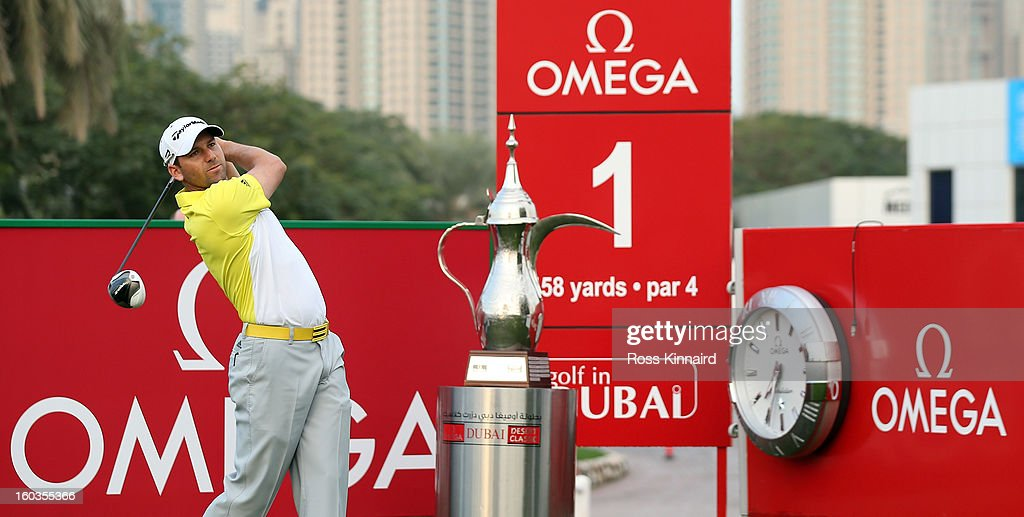Sergio Garcia of Spain during the pro-am event prior to the Omega Dubai Desert Classic on January 30, 2013 in Dubai, United Arab Emirates.