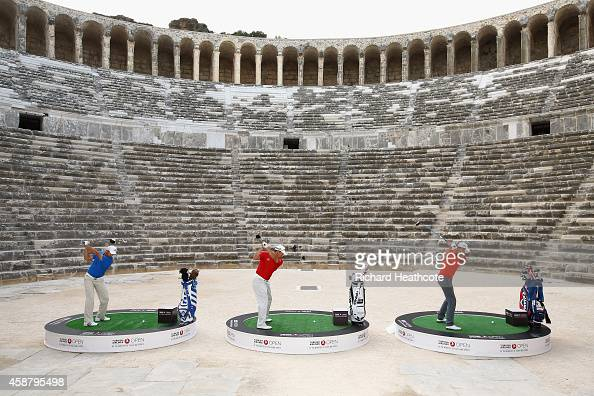 Sergio Garcia of Spain Henrik Stenson of Sweden and Lee Westwood of England take on the challenge to hit golf balls over the towering walls of the...