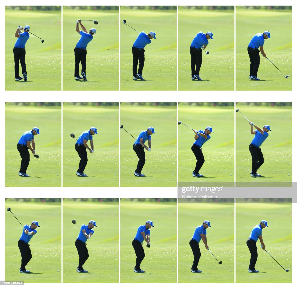 Sergio Garcia of Spain hits a driver off the fairway (swing sequence) during a practise round for the WGC Dell Match Play at Austin Country Club on March 21, 2017 in Austin, Texas.