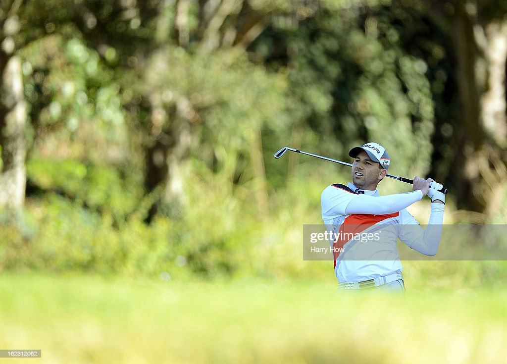 Sergio Garcia of Spain hits a second shot on the third hole during the second round of the Northern Trust Open at the Riviera Country Club on February 15, 2013 in Pacific Palisades, California.