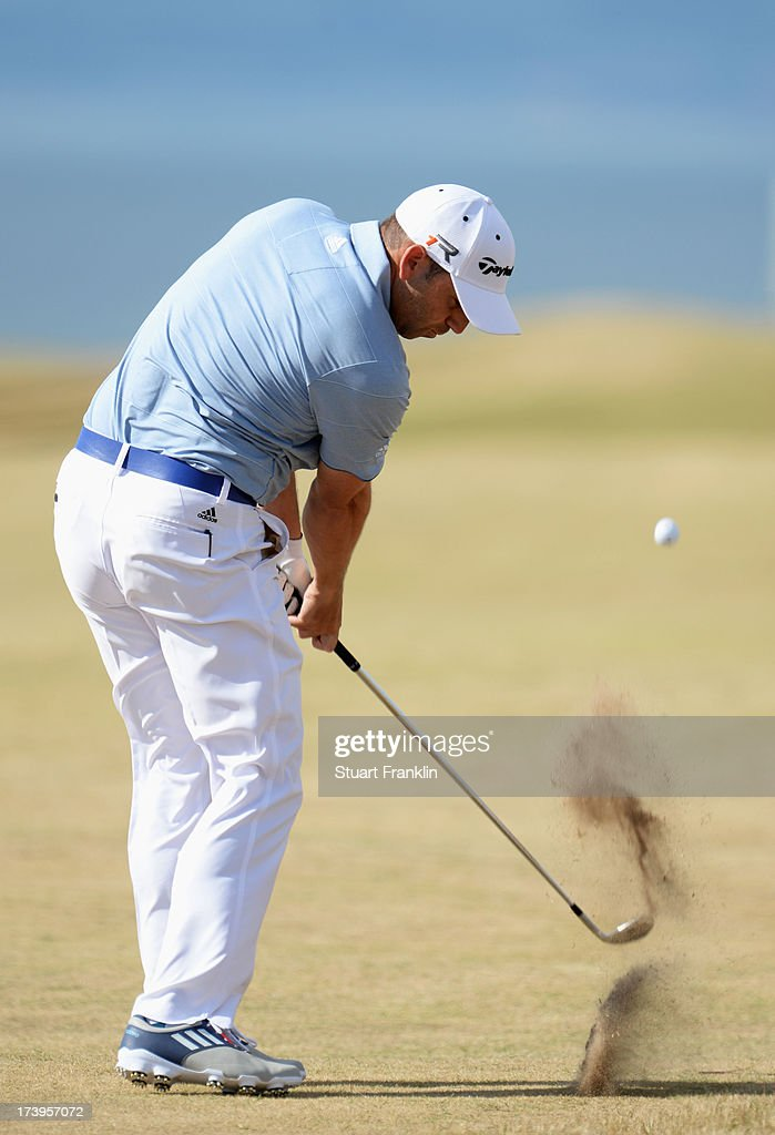 Sergio Garcia of Spain hits a shot during the first round of the 142nd Open Championship at Muirfield on July 18, 2013 in Gullane, Scotland.