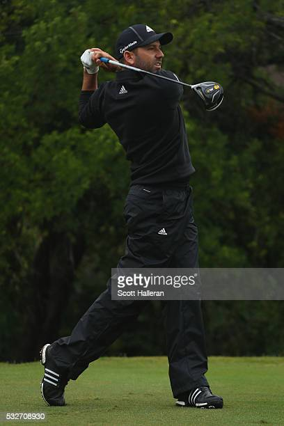 Sergio Garcia of Spain hits a shot on the 12th hole during Round One of the ATT Byron Nelson on May 19 2016 in Irving Texas