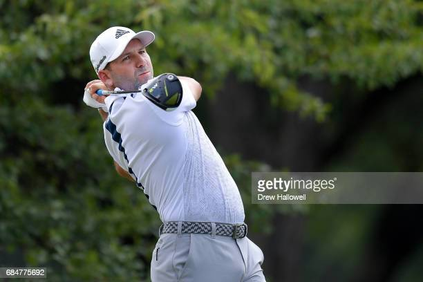 Sergio Garcia of Spain hits a shot on the 12th tee during Round One of the ATT Byron Nelson at the TPC Four Seasons Resort Las Colinas on May 18 2017...