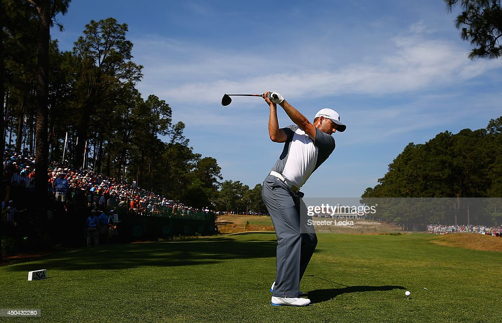 Sergio Garcia of Spain hits a tee shot during a practice round prior to the start of the 114th U.S. Open at Pinehurst Resort & Country Club, Course No. 2 on June 11, 2014 in Pinehurst, North Carolina.