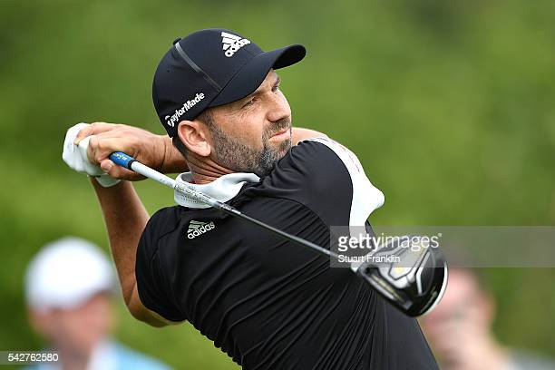 Sergio Garcia of Spain hits a tee shot during the second round of the BMW International Open at Gut Larchenhof on June 24 2016 in Cologne Germany